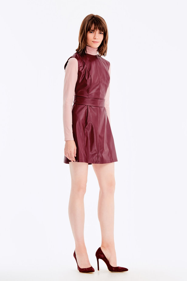 Below-knee burgundy leather dress photo 4 - MustHave online store