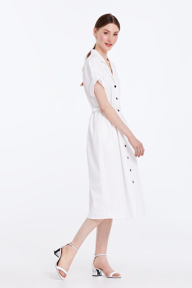 White dress with buttons and a belt photo 4 - MustHave online store