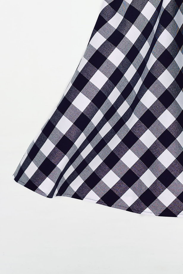 Blue and white checked flared skirt below the knee photo 6 - MustHave online store