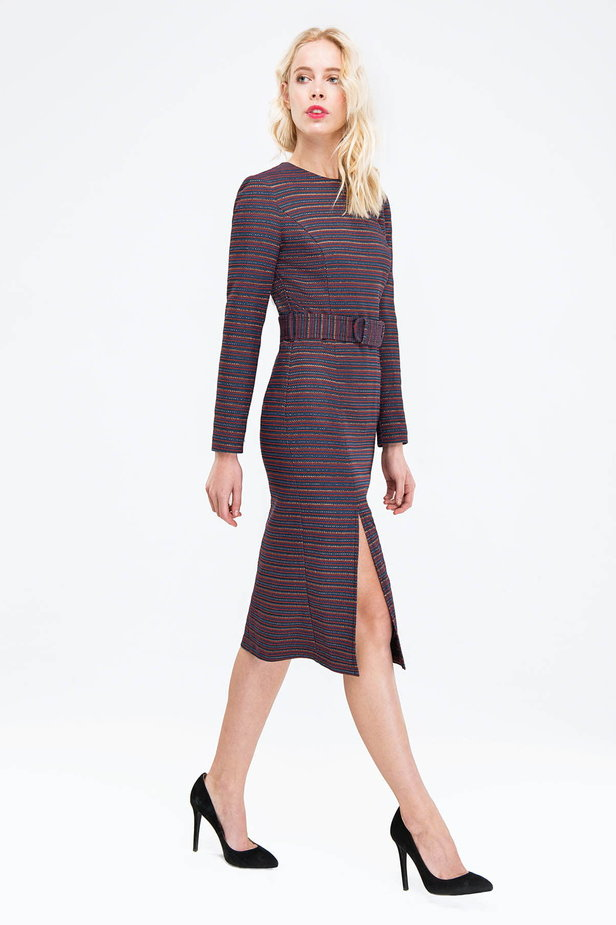 Striped column dress with lurex and slit photo 4 - MustHave online store