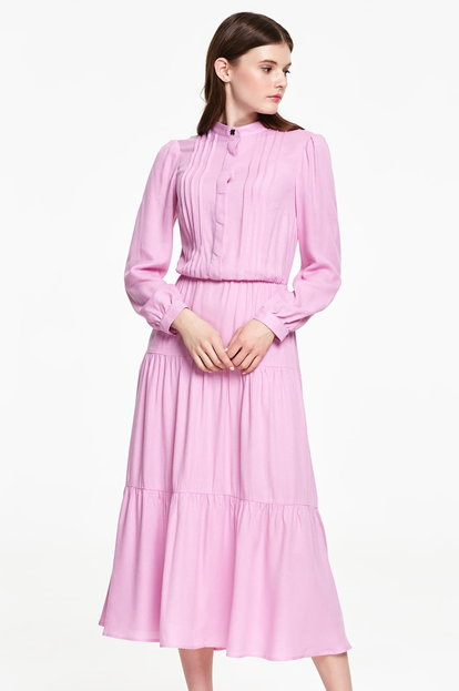 Midi pink dress, flounced skirt