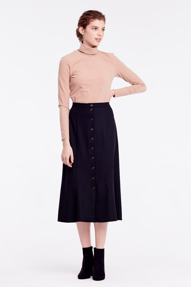 Black skirt with buttons photo 3 - MustHave online store