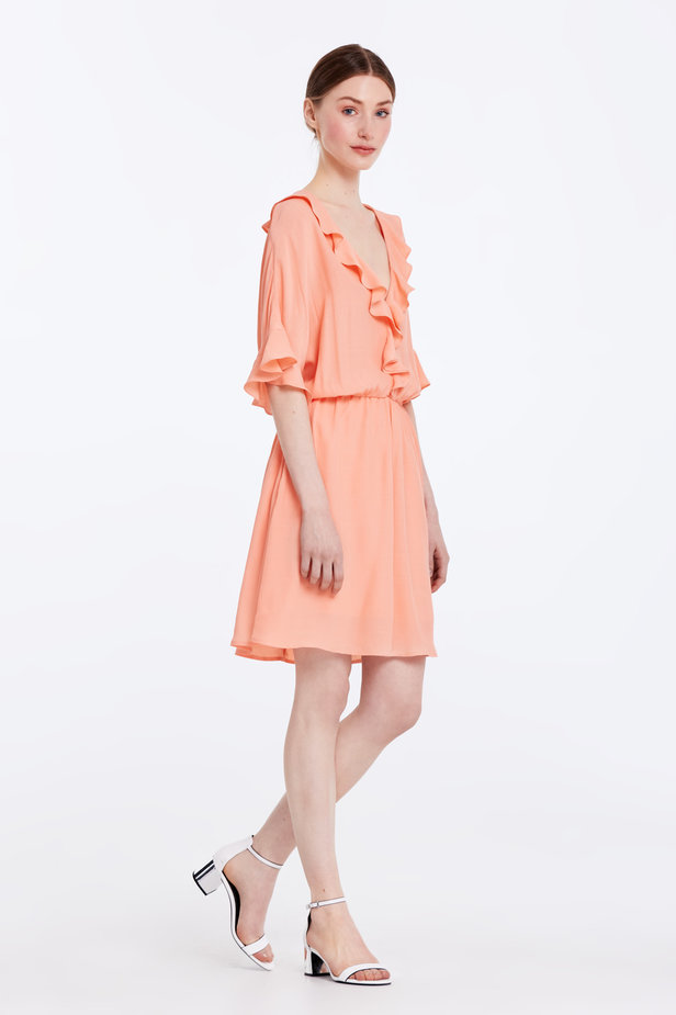 Peach-colored dress with ruffles photo 4 - MustHave online store