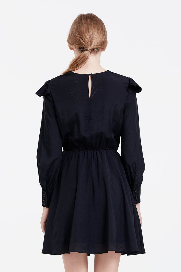 Mini black dress with ruffles photo 4 - MustHave online store