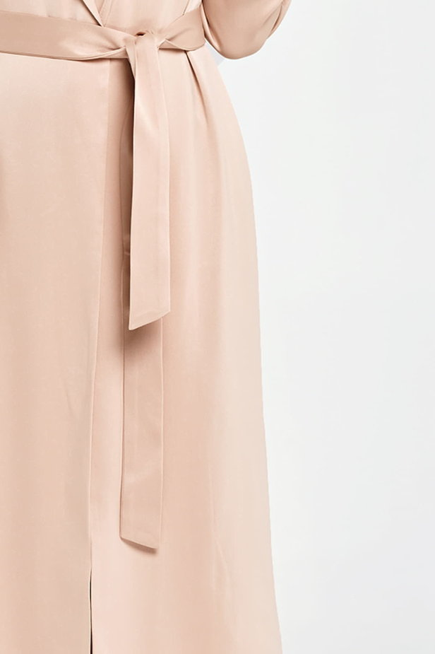 Below the knee wrap beige trenchcoat with a belt photo 3 - MustHave online store
