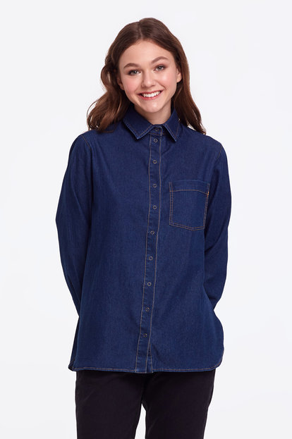Dark-blue denim shirt