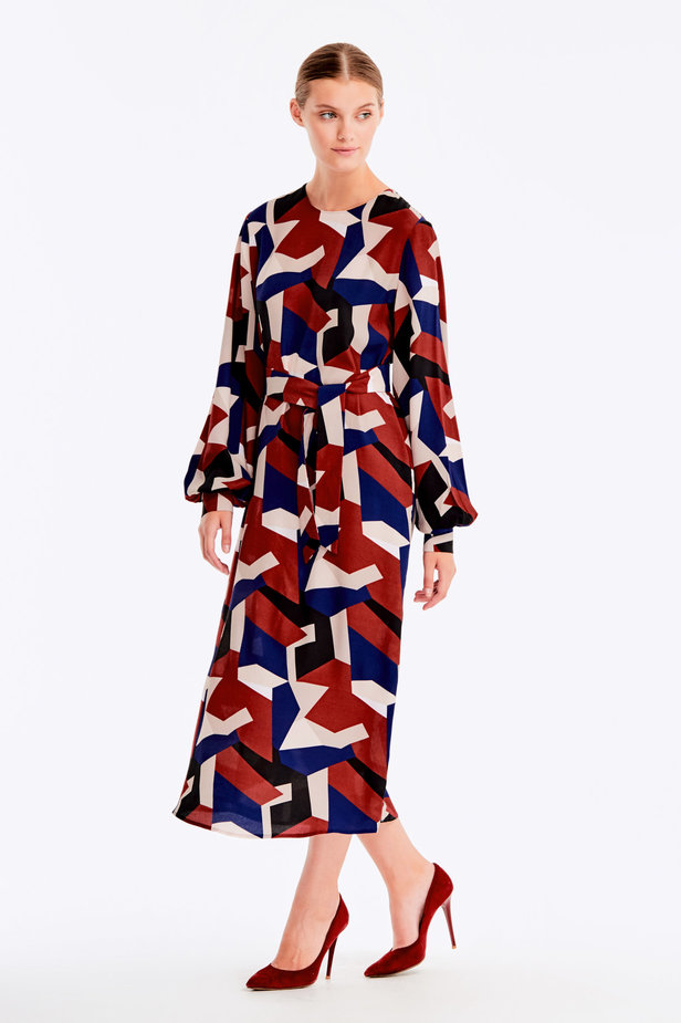 Free midi dress with variegated geometric print ¶¶ photo 5 - MustHave online store