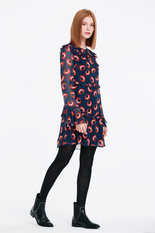 Dark blue dress with red circles and flounced sleeves photo 5 - MustHave online store