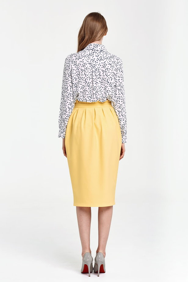 Yellow skirt with buttons and ruffles on the belt photo 3 - MustHave online store