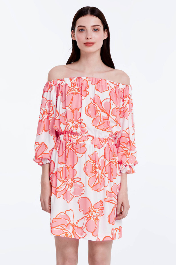 Off-shoulder white dress with a floral print photo 1 - MustHave online store