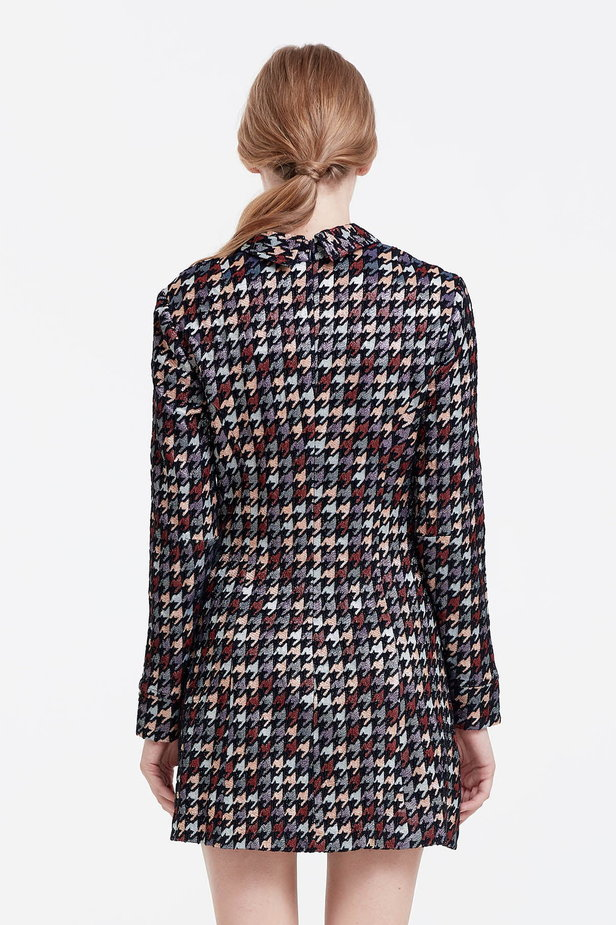 Mini dress with a houndstooth print and a collar photo 5 - MustHave online store