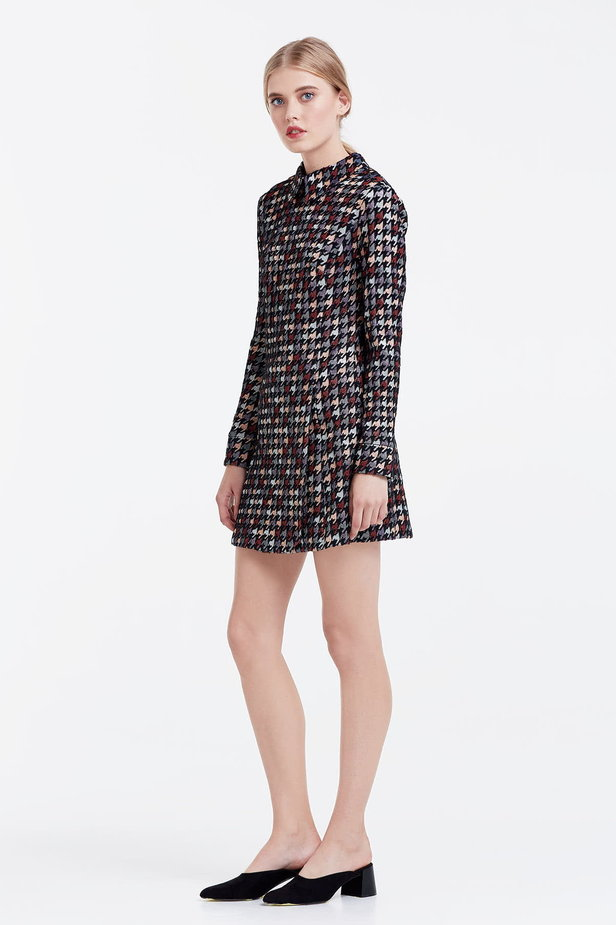 Mini dress with a houndstooth print and a collar photo 3 - MustHave online store