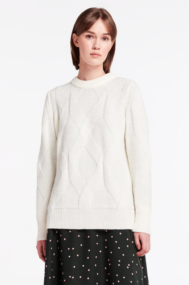 White free knit sweater photo 1 - MustHave online store
