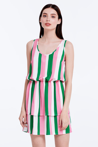 Sundress with white, green and pink stripes