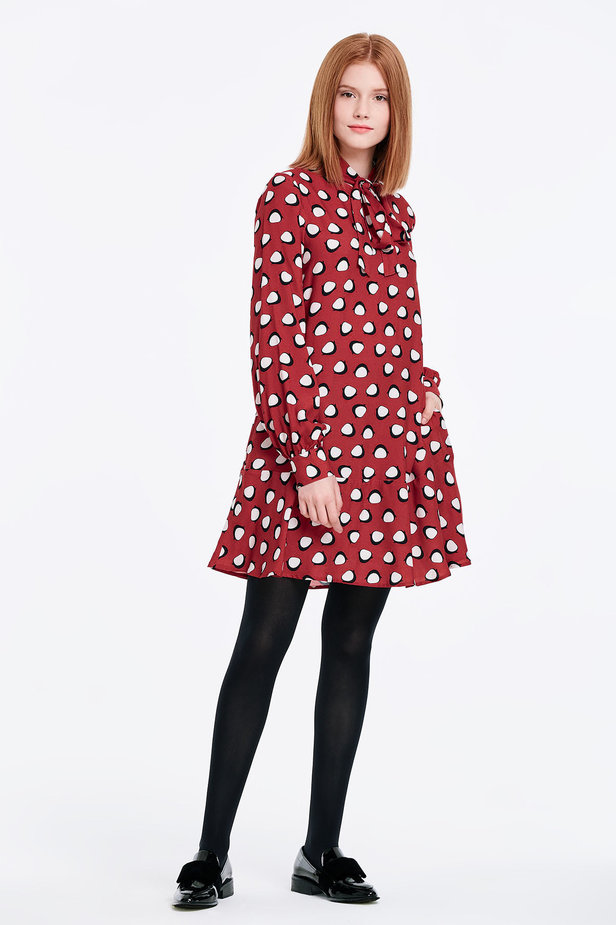 Red dress with a flounce and a bow, penguins print photo 6 - MustHave online store