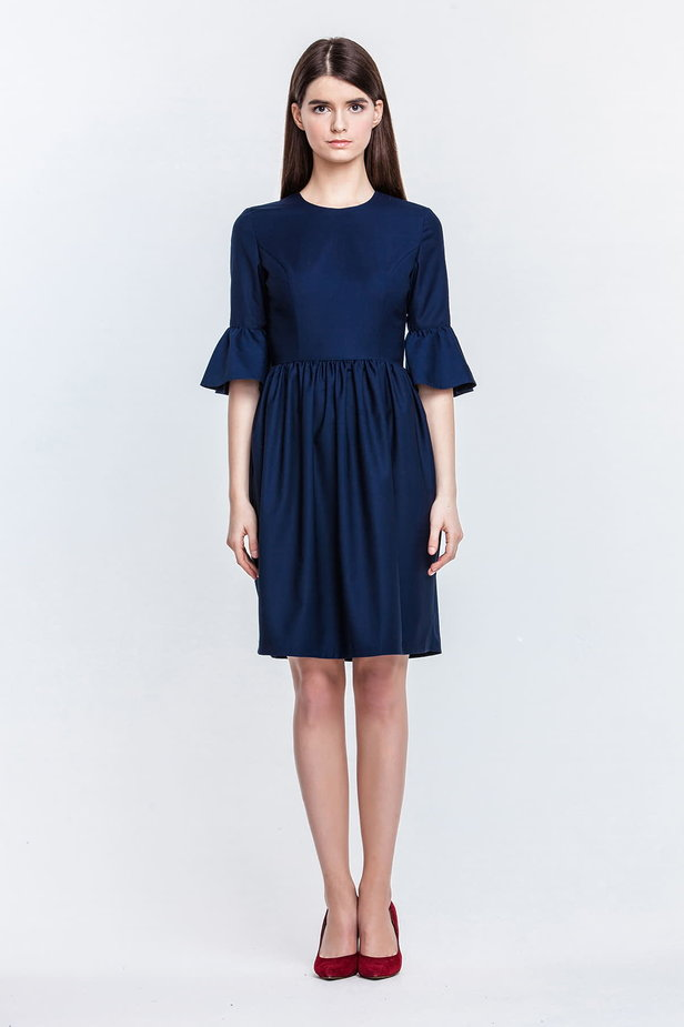 Blue dress with flared sleeves photo 3 - MustHave online store