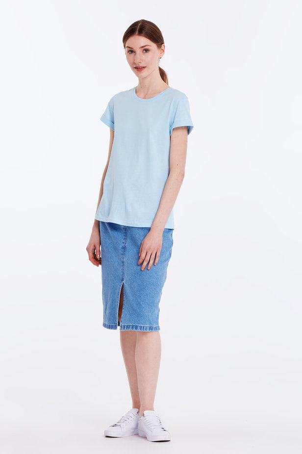 Blue T-shirt with cuffs photo 2 - MustHave online store