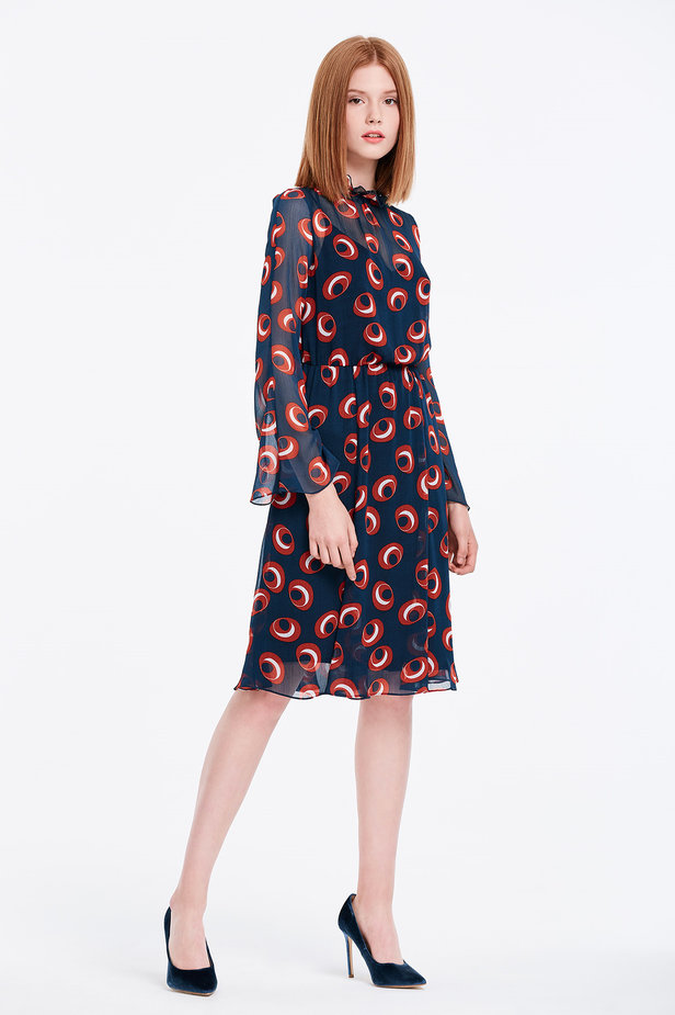 Dark blue dress with red circles and flared sleeves photo 4 - MustHave online store