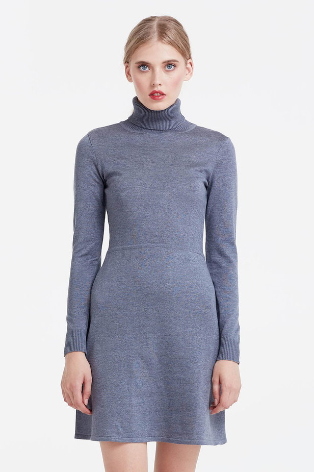 Grey knitted dress photo 1 - MustHave online store