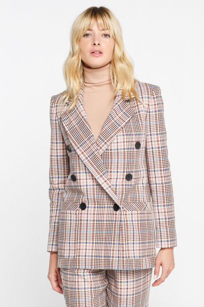 Double-breasted beige plaid suit fabric jacket