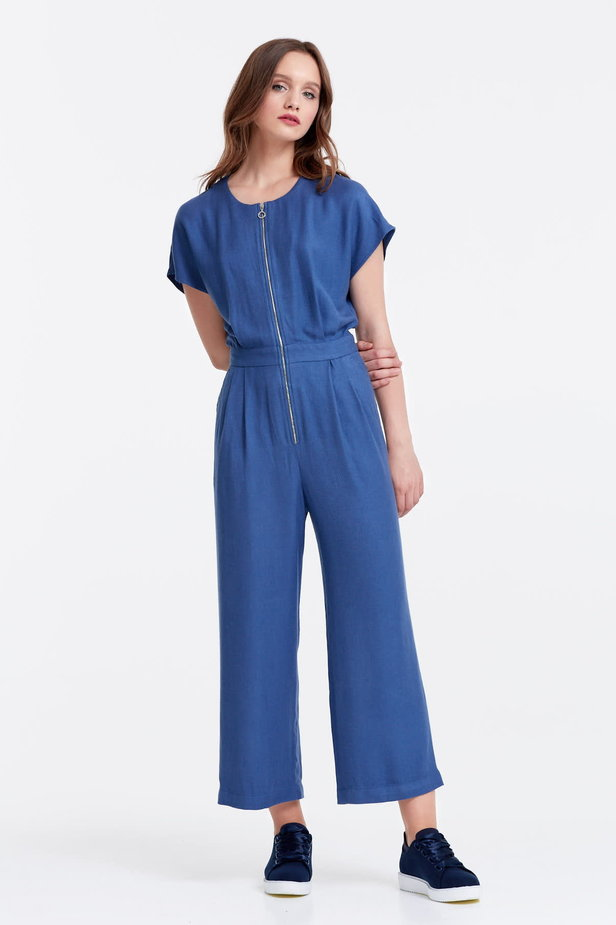 Blue jumpsuit with a zip photo 1 - MustHave online store