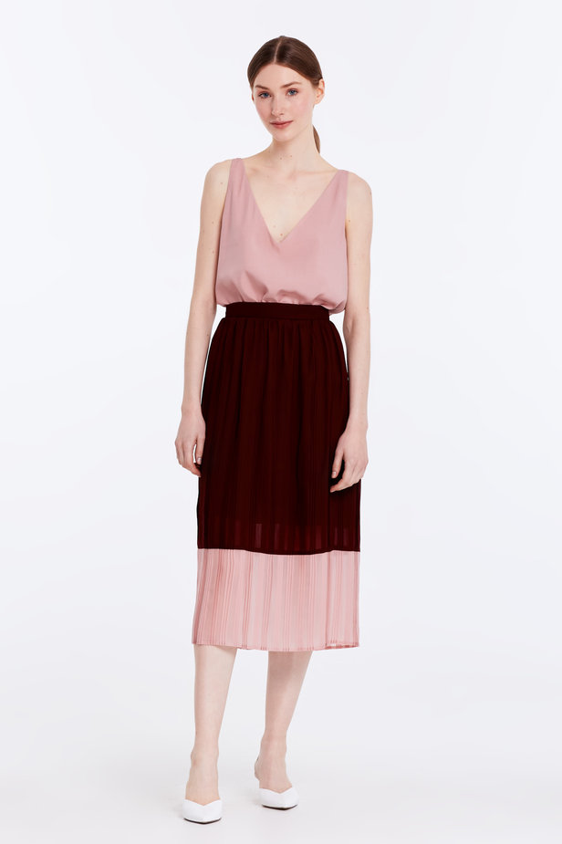 Below the knee pleated dark-red and powder pink skirt photo 2 - MustHave online store