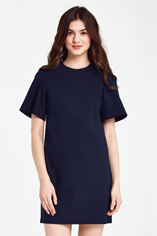 Dark blue dress with flared sleeves above the knee