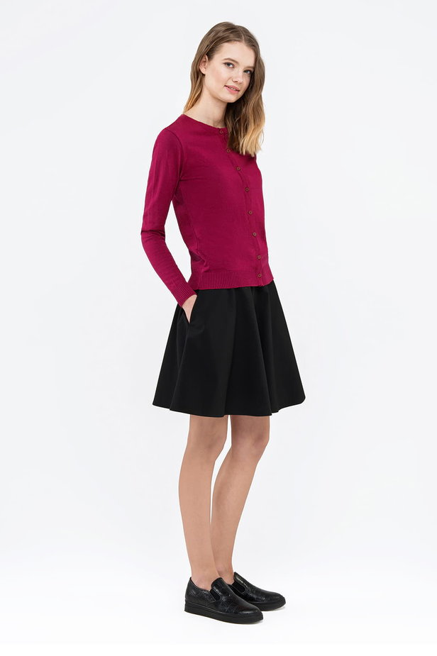 Raspberry-red sweater with buttons photo 3 - MustHave online store