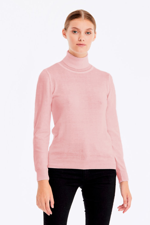 Powder pink polo neck with cotton photo 1 - MustHave online store