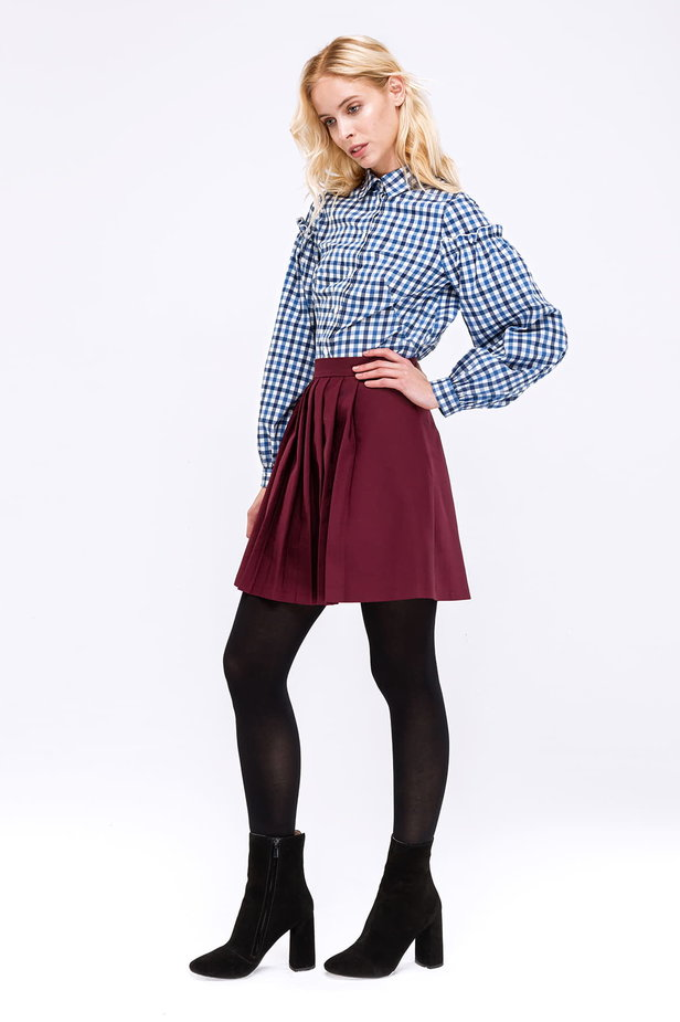 Checked shirt with ruffles on the sleeves photo 4 - MustHave online store