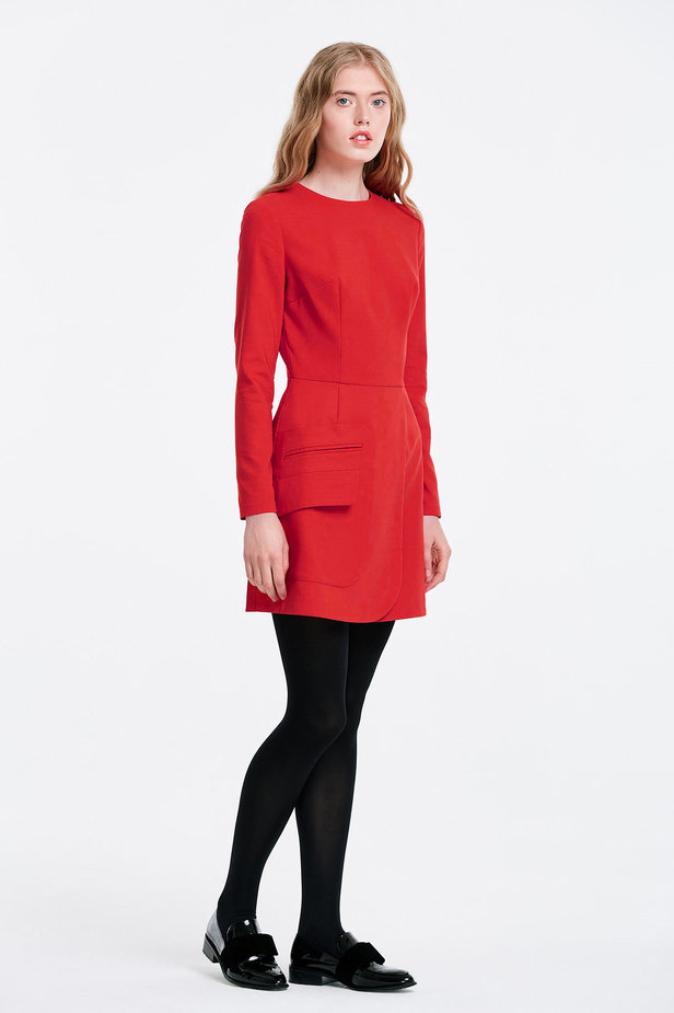 Wrap red dress with a pocket photo 3 - MustHave online store