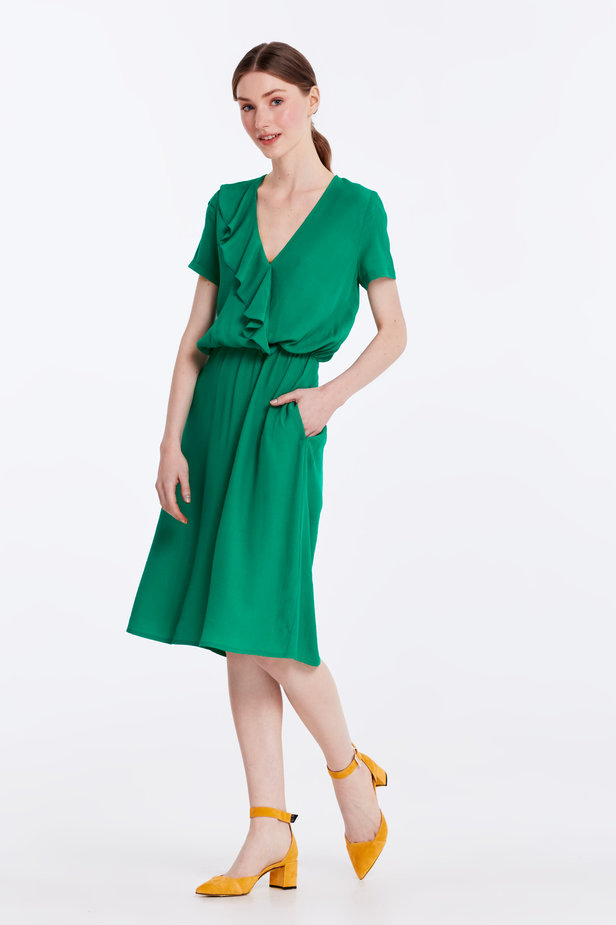 Green dress with ruffles photo 2 - MustHave online store