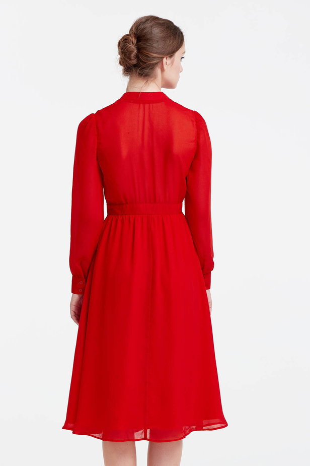 Below the knee red dress with a bow photo 4 - MustHave online store