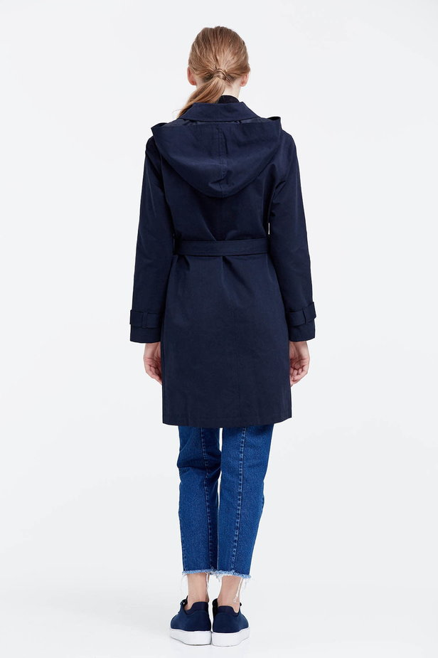 Dark blue trenchcoat with a hood photo 3 - MustHave online store