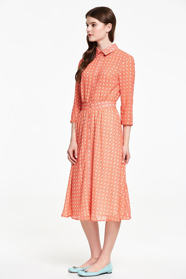 Orange shirt dress with rhombs photo 2 - MustHave online store