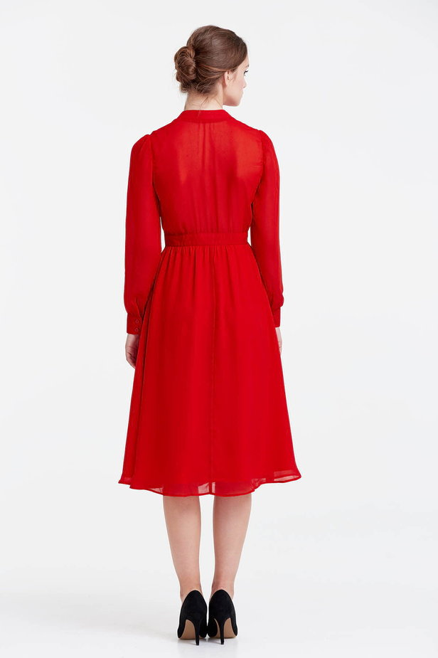 Below the knee red dress with a bow photo 3 - MustHave online store