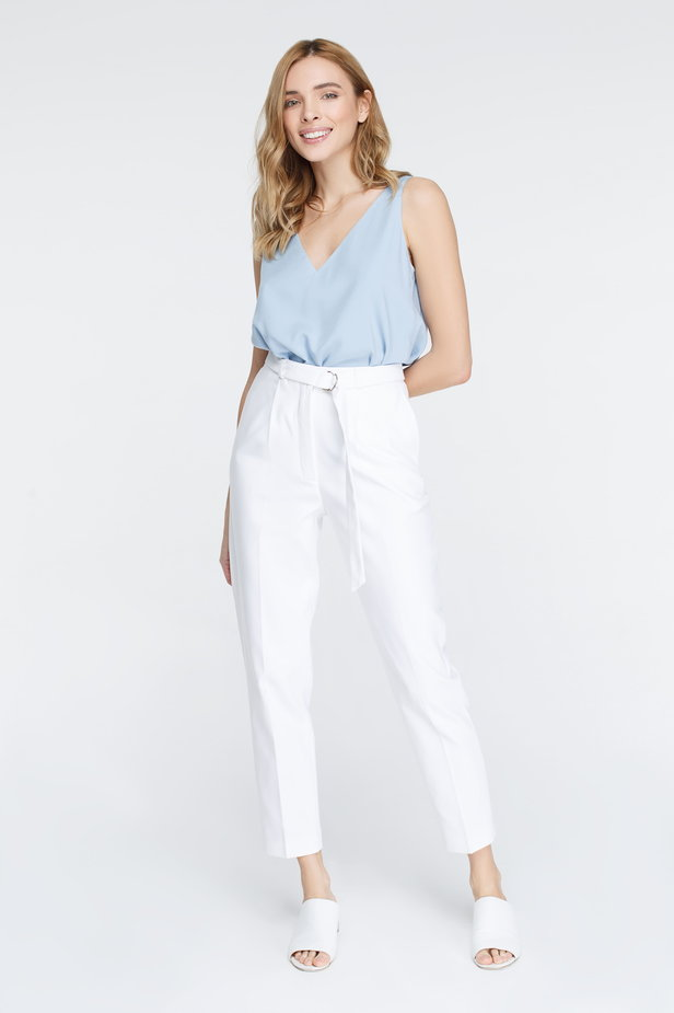 White pants with arrows and belt photo 2 - MustHave online store