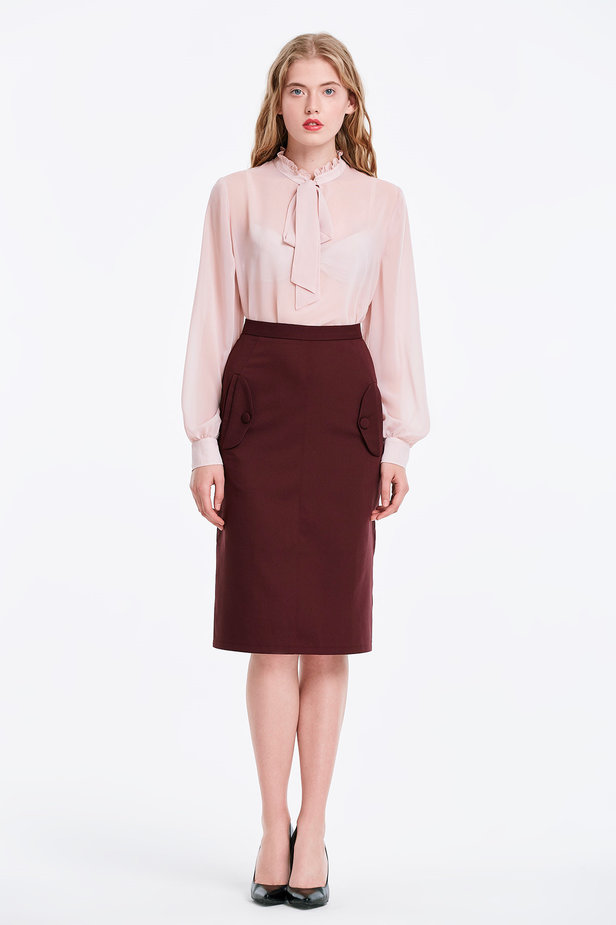 Burgundy skirt with pockets photo 1 - MustHave online store