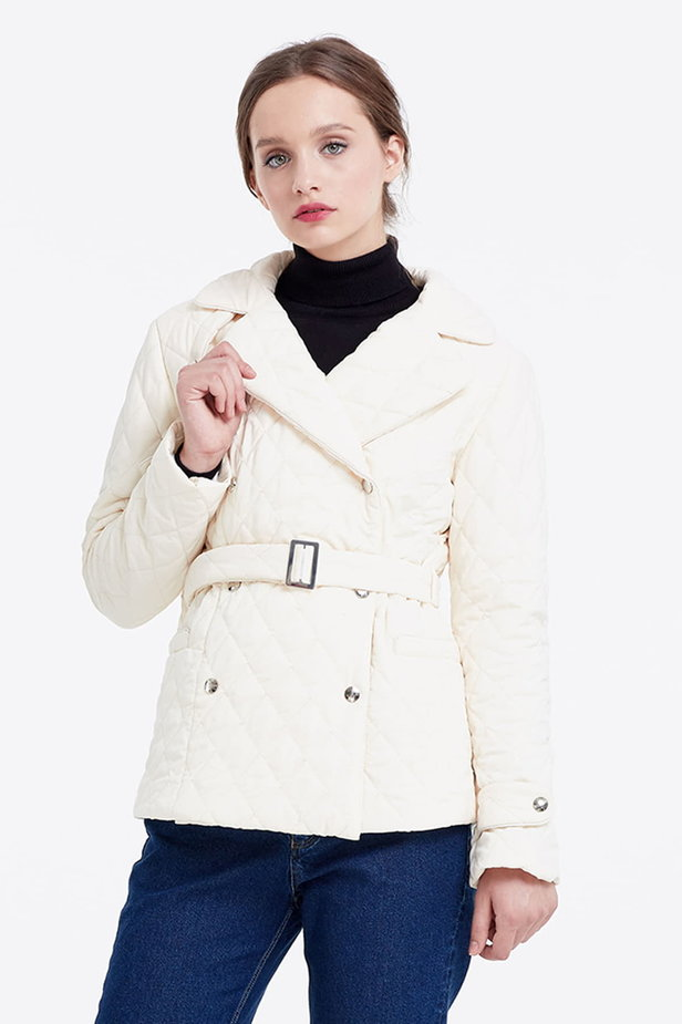 Milky coat with a belt photo 1 - MustHave online store