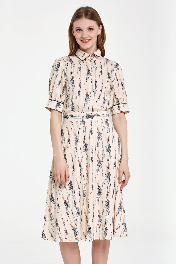 Midi beige shirt dress, floral print photo 1 - MustHave online store