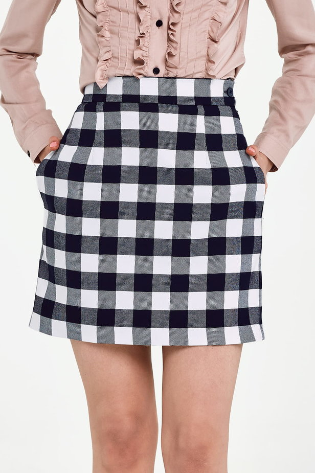Blue and white checked mini skirt photo 1 - MustHave online store