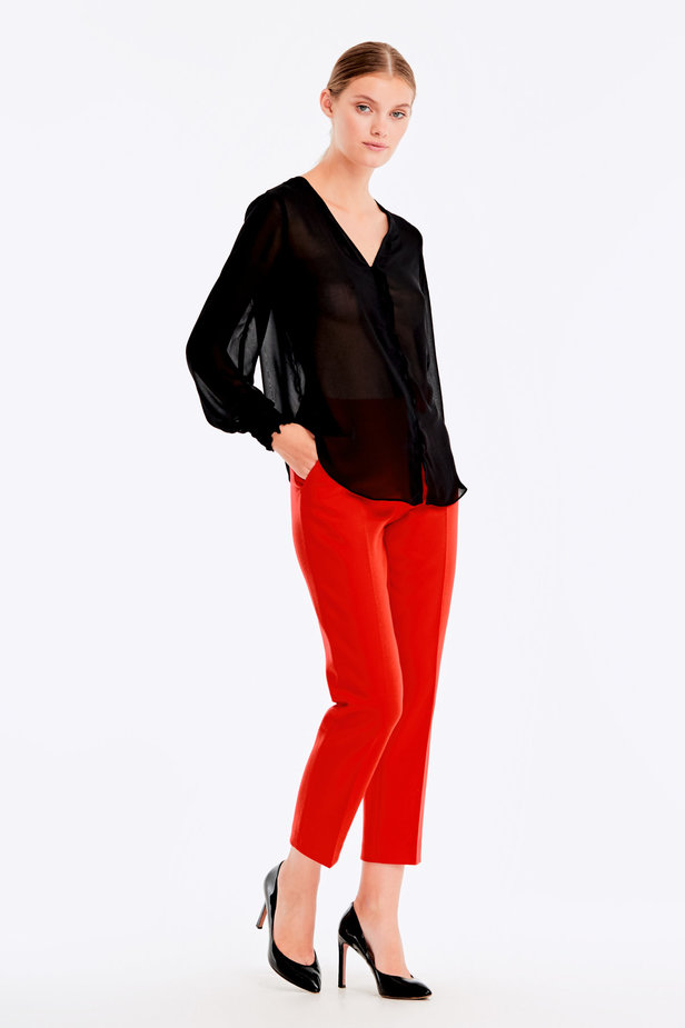 Black blouse with elastic band on sleeves photo 6 - MustHave online store