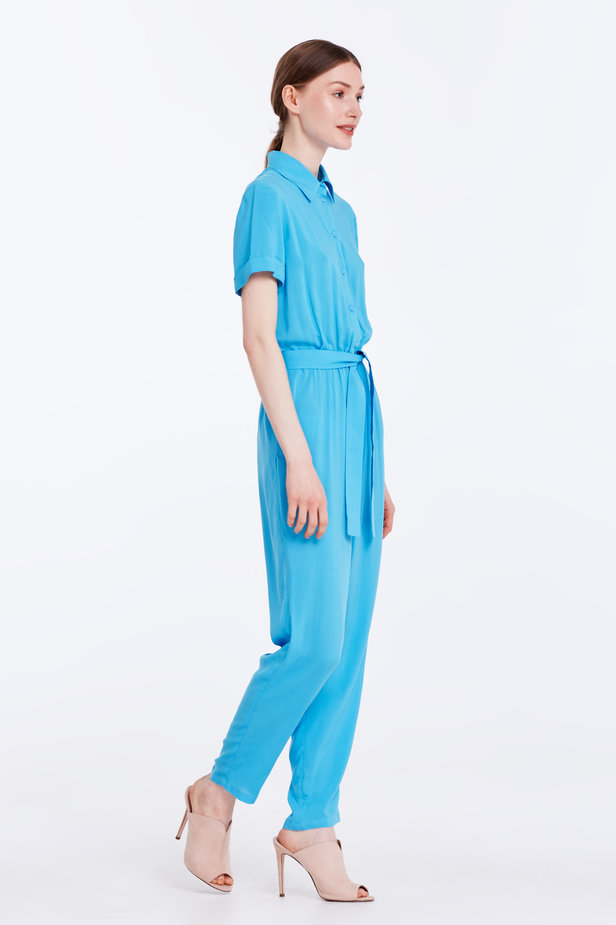 Blue jumpsuit with a shirt top photo 2 - MustHave online store
