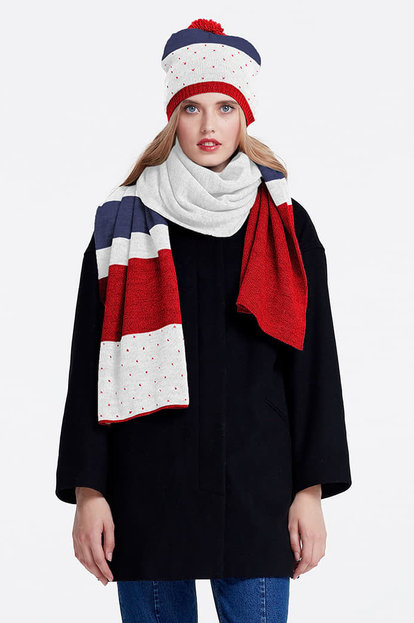 White scarf with red and blue stripes