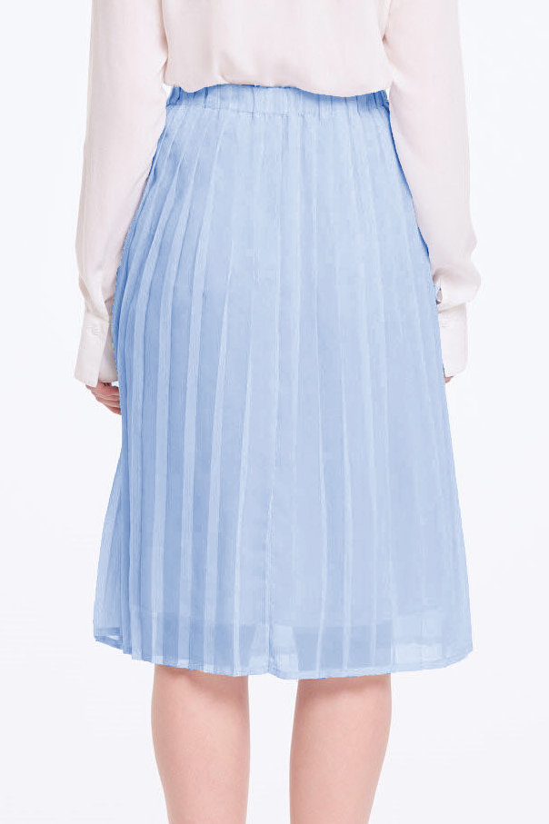 Below the knee pleated sky-blue skirt photo 5 - MustHave online store