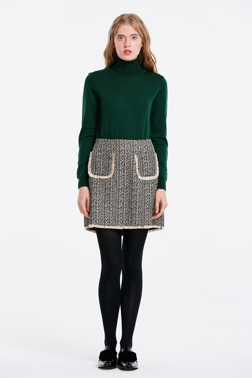 Skirt with lurex and pockets