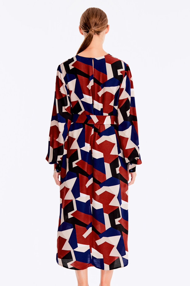 Free midi dress with variegated geometric print ¶¶ photo 6 - MustHave online store