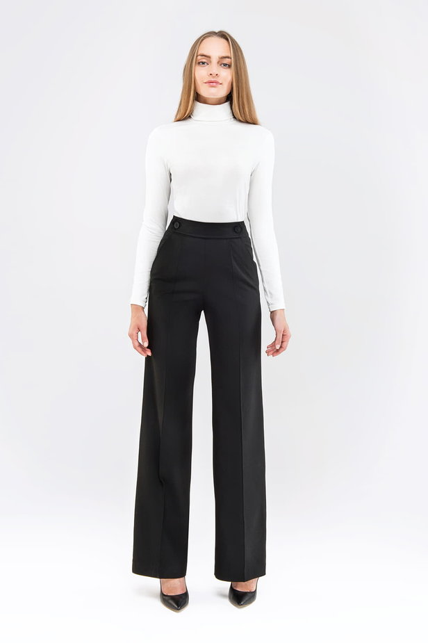 Black pants with a belt photo 3 - MustHave online store