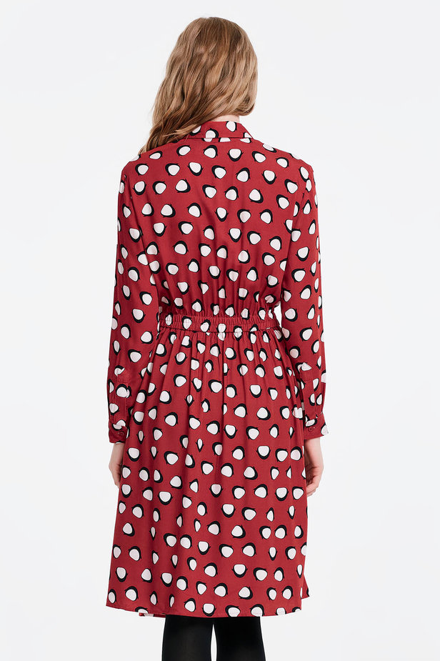Red shirt dress, penguins print photo 5 - MustHave online store