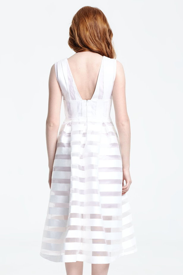 Midi striped white dress with a low neckline photo 4 - MustHave online store
